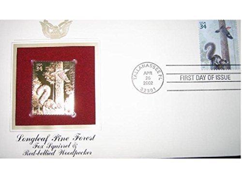 FOX SQUIRREL RED BELLIED WOODPECKER FDI 22kt Gold Golden Replica Cover Stamp FDC 2002