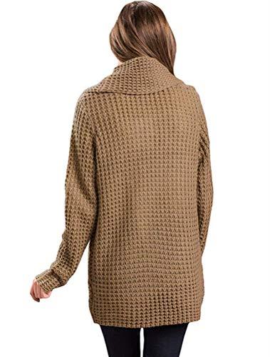 Donna Dimensione Xl Fuxitoggo Da Colletto Pullover Lunghe Risvolto colore Felpe Irregolare Piane Cachi E Con A Maniche Cachi qqgaZ