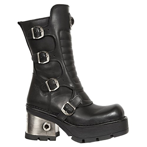 New Rock Womens M.373QX-S3 Leather Boots Black