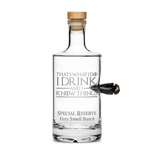 Limited Edition Game of Thrones Dragon Bottle, Obsidian Arrowhead, Thats What I Do I Drink and I Know Things, Hand Etched 750mL Round Jersey Decanter, Made in USA, Sand Carved ()
