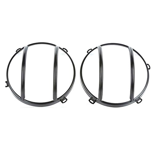 Egal 1 Pair Steel Head Lamp Guard Protector Headlight Steel Cover Protector for 07-17 Jeep Wrangler JK Headlamp Guard