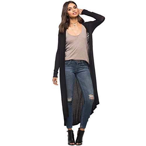 JYUAN Women's Long Sleeve Lightweight Open Long Maxi Cardigan With Hoodies Black XL (Long Hooded Hoodie compare prices)