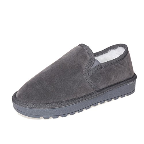 Winter Snow Fur Flat Shoes Lazy Egmy Gray Warm Ankle Winter Lined Women's Shoes Boots HwTB0qWcz