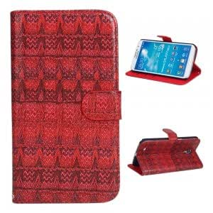 PU Leather and Plastic Protective Case with Woven Pattern for Samsung i9200 Red
