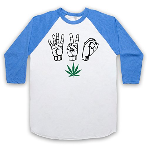 420 Cannabis Leaf Weed Pot Culture Fingers Manga 3/4 Camiseta del Béisbol Blanco & Azul Clásico