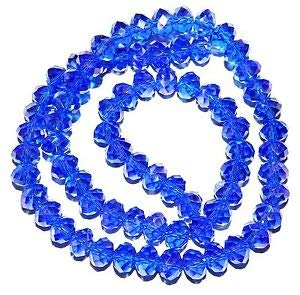 (Steven_store CR262 Dark Sapphire Blue AB 6mm Rondelle Faceted Cut Crystal Glass Beads 16