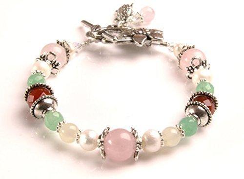 Juno Fertility and Pregnancy Bracelet featuring Natural Gemstones Rose Quartz, Moonstone, Green Aventurine, Carnelian and Freshwater Pearls ()