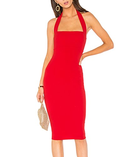 Halter Button Red Midi Women's Dresses with Neck Bodycon Cecilia Cocktail Closure Pink 6UBqCE
