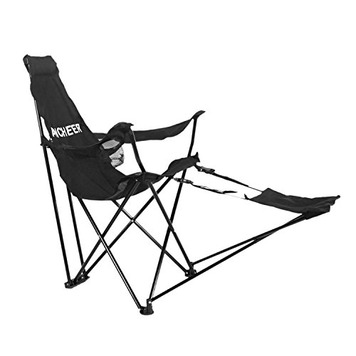 Ancheer Portable Folding Tripod Recliner Escape Chair with Armrests, Detachable Footrest and Cup holder for Outdoor Camping Fishing Hiking, Black (Canvas Reclining Recliner)