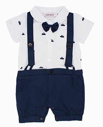 stylesilove Sailor Boat Print Faux Suspender Formal Wear Baby Boy Short Sleeve Romper (80/6-12 (Formal Faux 4 Pattern)