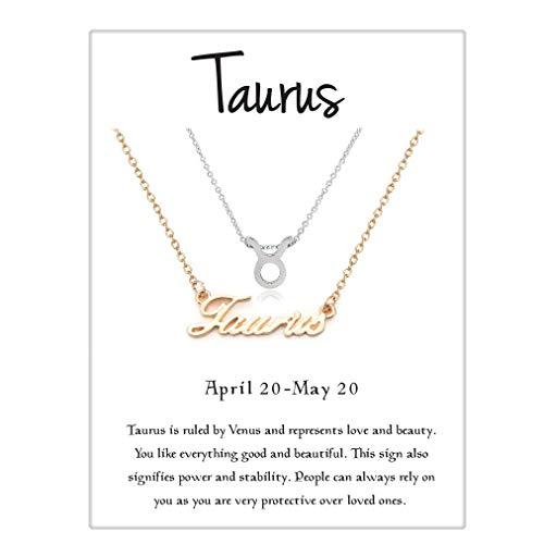 - Cyberny Zodiac Symbol Taurus Pendant Necklace Gold & Silver