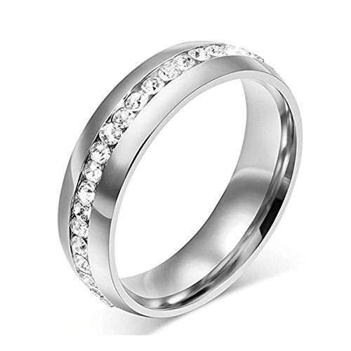- ANAZOZ 6MM Stainless Steel Channel Set Cubic Zirconia Silver Wedding Ring Eternity Band Size 6