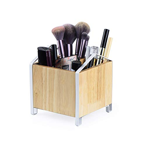 (SRIWATANA Makeup Brush Holder,Wood Makeup Organizer, Wooden Cosmetic Storage Case,Cosmetics Organizer Box, 5.43