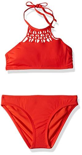 Hobie Big Girls' High Neck Bikini Top and Hipster Bottom Swimsuit Set, Watermelon//Solids, 12