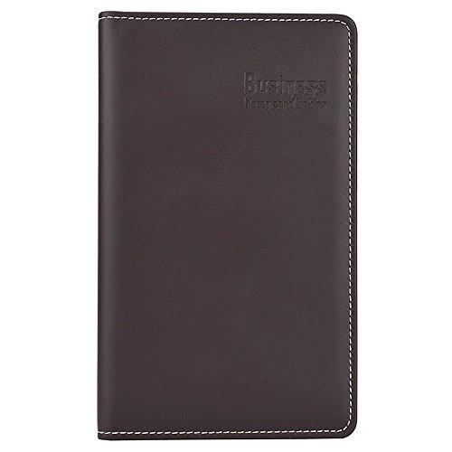 Looneng Business Card Book Holder, 180 Card Capacity Name Card Book Holder Business Card Organizer (Brown)