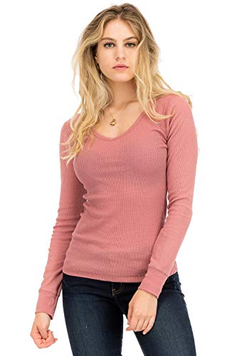 (NANAVA Casual Basic Solid Long Sleeve Slim Fit V-Neck Thermal Top Dusty Pink M)