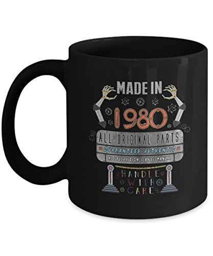 Funny Birthday Mug - Made in 1980 All Original Parts Guaranteed Authentic As Specified - Home Office Coffee Cup Gift Idea -