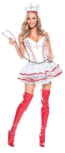 Be Wicked Costumes Women's Home Care Nurse Costume, Red/White, Small/Medium