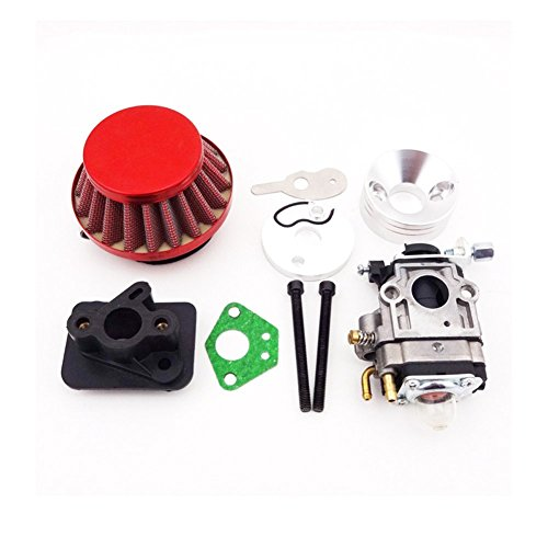 TC-Motor 15mm Carb Carburetor + Red 44mm Air Filter + Alloy Stack + Manifold Intake Pipe Kit For 2 Stroke 33cc 43cc 49cc Engine Parts Goped EVO Gas Scooter