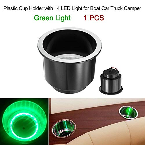 Victoria-ACX - Plastic Cup Holder with 14 LED Light for Boat Car Truck Camper For BMW e46 e90 ford focus 2 volkswagen Hyundai suzuki volvo