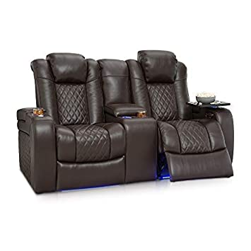 Seatcraft Anthem Home Theater Seating Leather Power Recline Loveseat with Center Storage Console, Powered Headrests, Storage, and Cupholders Brown