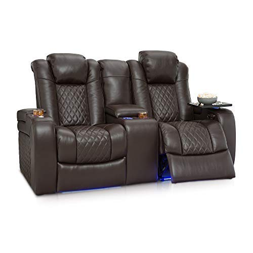 Seatcraft Anthem Home Theater Seating Leather Power Recline Loveseat with Center Storage Console, Powered Headrests, Storage, and Cupholders (Brown)