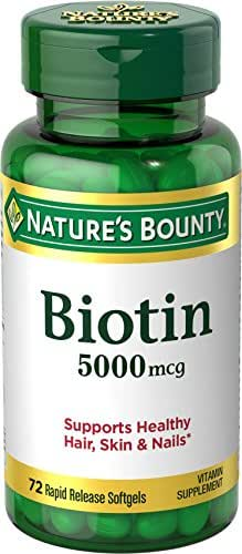 Nature's Bounty Biotin Supplement, Supports Healthy Hair, Skin, and Nails, 5000mcg, 72 Tablets