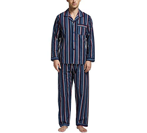 Winter Pajamas Men Sleepwear Flannel Warm Nightgown Long Sleeve 100% Cotton Casual Pyjamas Home,2,L