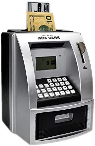 ATM Savings Bank for Real Money, Electronic Piggy Bank for Boys for Girls, Talking Kids Money Safe Box, Gift for Ages 6+, Silver (Black/Silver)