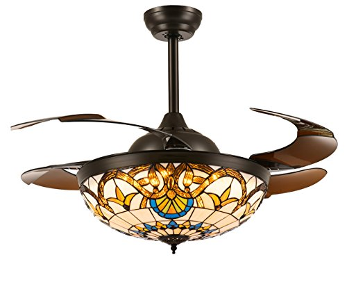 """Moooni 36"""" Mediterranean Style Ceiling Fans with Light and R"""