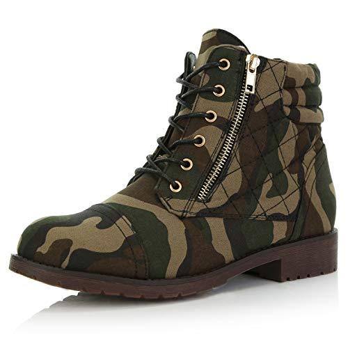 DailyShoes Women's Military Lace Up Buckle Combat Boots Ankle High Exclusive Credit Card Pocket, Camouflage Cv, 7 (Camouflage Buckle)