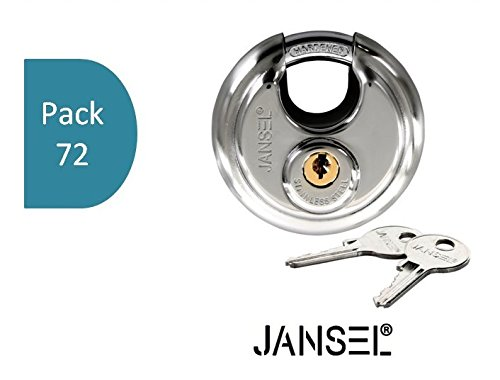 JANSEL – 70mm Disc Padlock Keyed Alike, Discus Padlocks Keyed Alike 70mm Round Disc Padlock with Shielded Shackle, 2-3/4-inch, Stainless Steel Round Disc Storage Pad Locks All the same key (72) by JANSEL