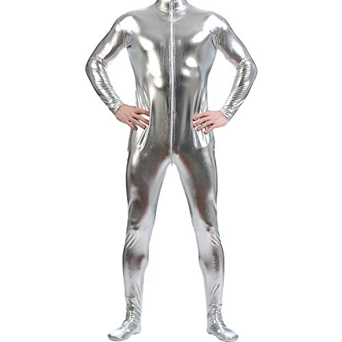 GAIBEST Metallic Lycra Bodysuit Unisex Zentai Long Sleeve Shiny Without Hood ()