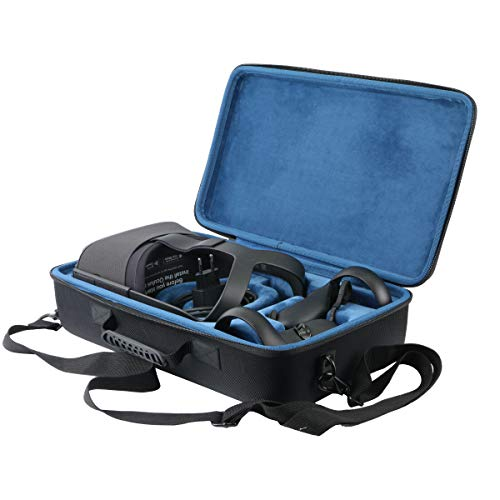 Khanka Hard Travel Carrying Case Replacement for Oculus Quest 2 Virtual Reality VR Gaming Headset & Accessories (Inside Blue)