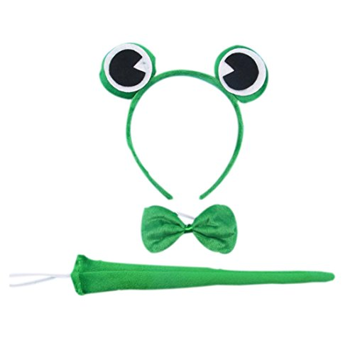 Marlegard 3PCs Funny Dalmatian Milk Leopard Costume Headband Ear with Tail Tie (Green Frog) -