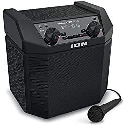 ION Audio Tailgater Plus   Portable Speaker, Battery Powered, with 50 W Power, Bluetooth Connectivity, Microphone & Cable, AM/FM Radio and USB Charging For Smartphones & Tablets