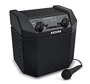 ION Audio Tailgater Plus | Portable Speaker, Battery Powered, with 50 W Power, Bluetooth Connectivity, Microphone & Cable, AM/FM Radio and USB Charging For Smartphones & Tablets