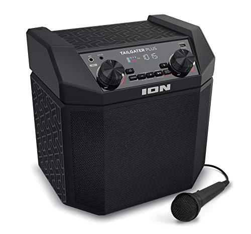 ION Audio Tailgater Plus | Portable Speaker, Battery Powered, with 50 W Power, Bluetooth Connectivity, Microphone & Cable, AM/FM Radio and USB Charging For Smartphones & ()
