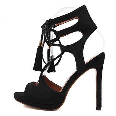 LvYuan Mujer-Tacón Stiletto-Zapatos del club-Sandalias-Vestido-Vellón-Negro Black