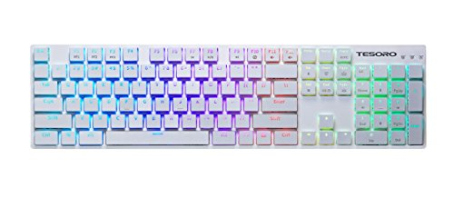 Tesoro Gram XS G12ULP Blue Ultra-Slim Mechanical Switch Chicklet Style Beycap Full Color RGB LED Backlit Illuminated Mechanical White Ultra-Low Profile Keyboard TS-G12ULP W (BL)