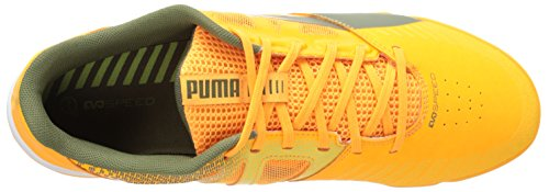Puma Mens Evospeed Sala Chaussure De Football Flash Fluorescent Orange / Olive Brûlé / Vert Vif