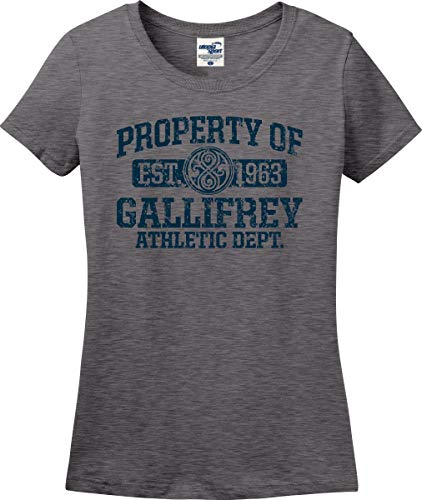 Utopia Sport Property of Gallifrey Athletic Department Ladies T-Shirt (S-3X) (Ladies Medium, Graphite -