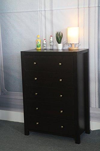 espresso 5 drawer dresser - 9