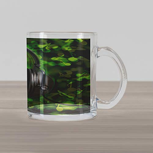 - Ambesonne World Glass Mug, World of Music Themed Composition DJ Headphones Musical Notes and Earth Globe, Printed Clear Glass Coffee Mug Cup for Beverages Water Tea Drinks, Lime Green Grey