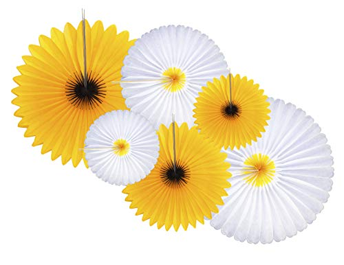6-Piece Sunflower and Daisy Flower Theme Decorations Tissue Paper Fan Party Supplies perfect for Classroom Baby Shower Wedding Birthday Backdrop Garland (Two 24 inch, Two 16 inch, Two 9.5 inch.) -