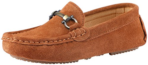 SKOEX Boy's Suede Loafers Slip On Boat Shoes US Size 10 Brown(Suede)