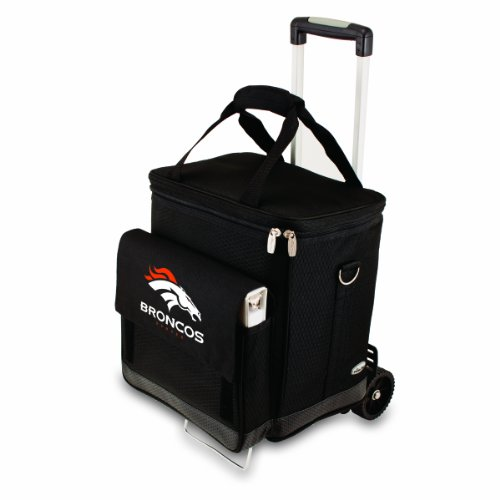 Bottle Trolley 6 - NFL Denver Broncos Insulated Cellar Six Bottle Wine Tote with Trolley