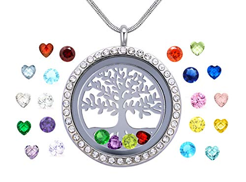 Family Tree of Life Floating Necklace Locket, Round & Heart Crystal Pendant All Birthstone Charms Include, Best Gift for Mother in Low, Mom, Aunt, Friend, Grandma, Niece, Girlfriend