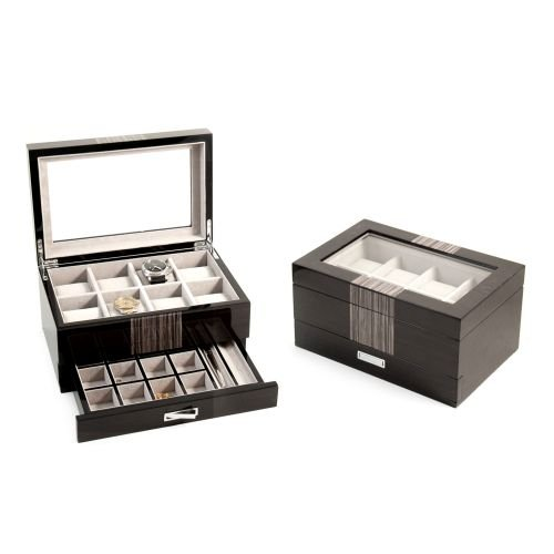 Bey Berk Lacquered ''Wenge'' Wood 8 Watch Box with Glass Top, Drawer for Cufflinks & Pens.