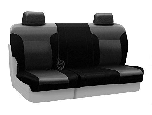 Coverking Rear 60/40 Bench Custom Fit Seat Cover for Select Jeep Wrangler Models - Leatherette (Charcoal Gray with Black Sides)